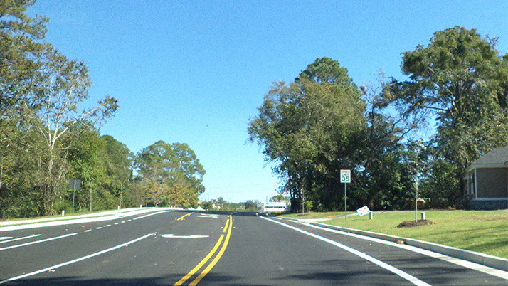 Gornto Road bike lanes in Valdosta, Georgia